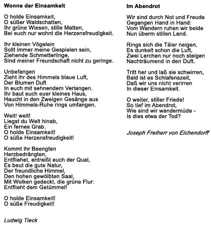 Gedicht romantik bekannt